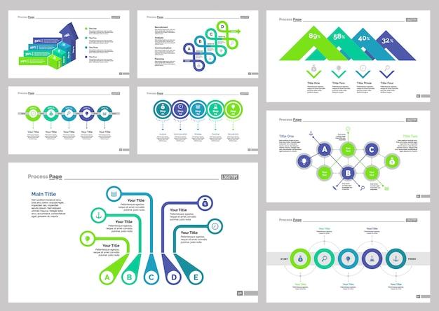 Eight production slide templates set