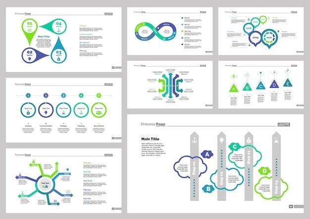 Eight strategy slide templates set