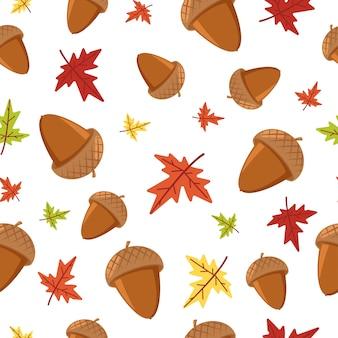 Eikel en esdoorn herfstblad naadloze patroon op wit voor behang, verpakking, verpakking en achtergrond.