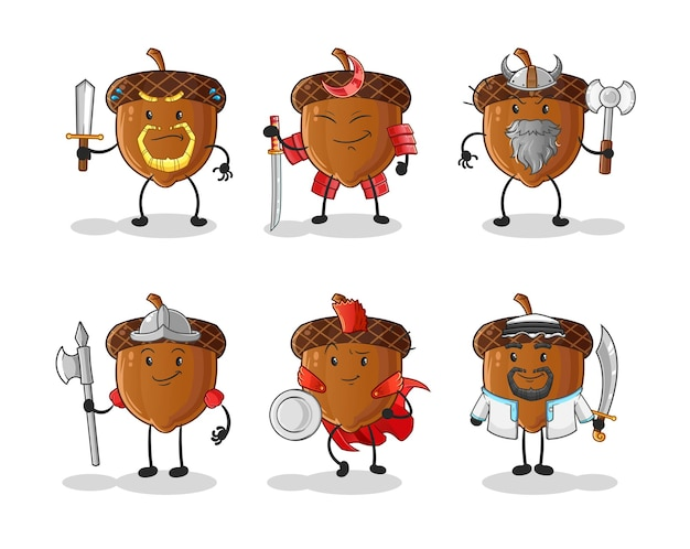 Eikel krijger groep karakter. cartoon mascotte