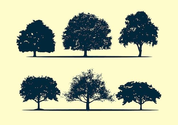Eiken boom silhouet