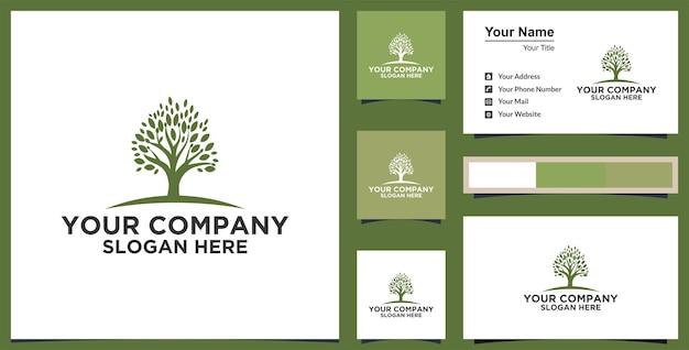 Eikenboom logo en visitekaartje ontwerp premium vector
