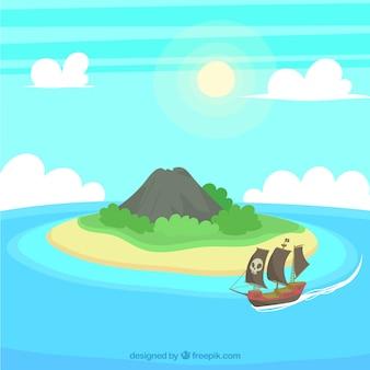 Eiland achtergrond en piraat schip