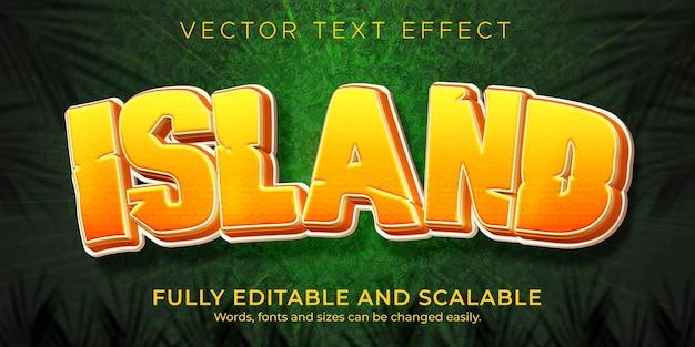 Eiland jungle teksteffect sjabloon Premium Vector