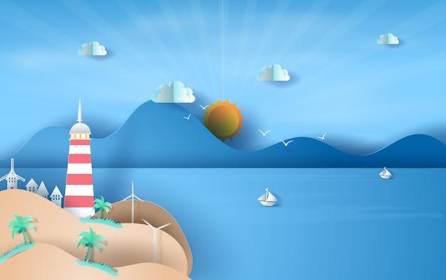 Eiland met vuurtoren op de blauwe hemel van het overzeese meningszonlicht