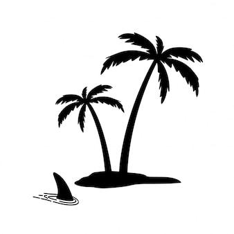 Eiland palmboom kokosnoot haaienvin