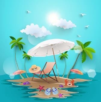Eiland strand met zomer elementen