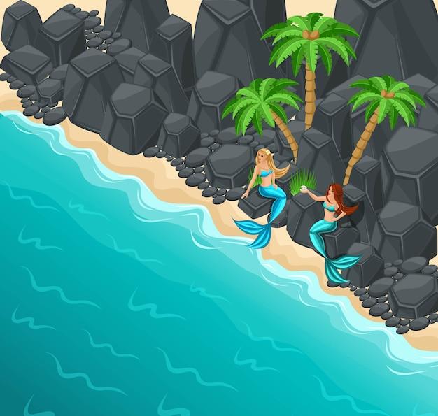 Eiland, twee zeemeerminnen op een rotsachtige kust, rotsen, palmen, zee, liefdevolle serena's, zee, staart, vis