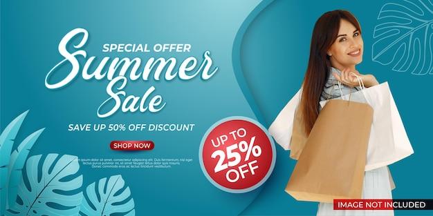 Einde seizoen sjabloon speciale aanbieding zomer verkoop banner met foto
