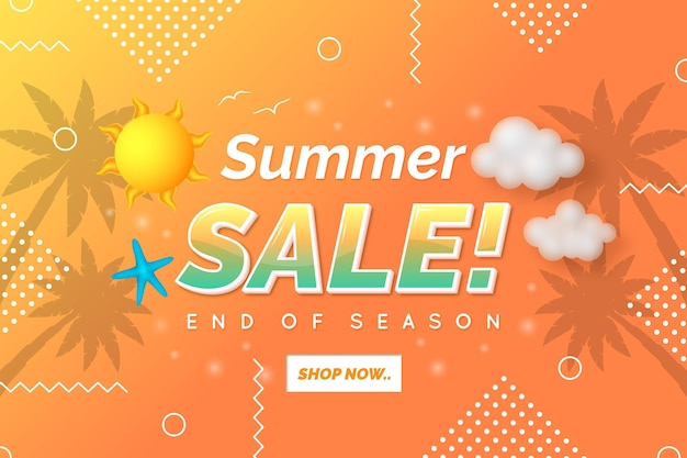 Einde seizoen zomer verkoop bestemmingspagina sjabloon