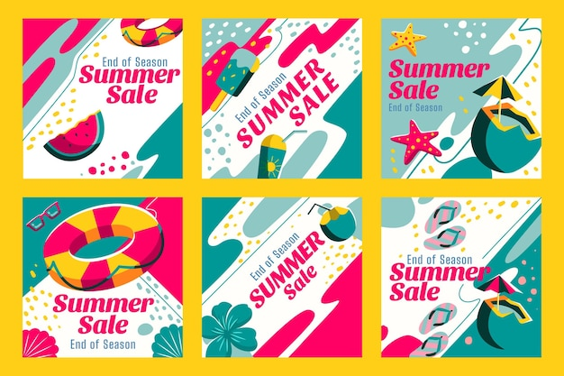 Einde seizoen zomer verkoop instagram posts collectie