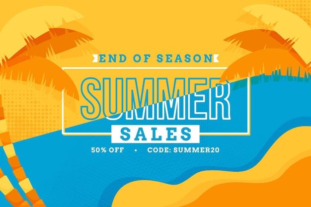 Einde van de horizontale verkoopbanner van de seizoenzomer
