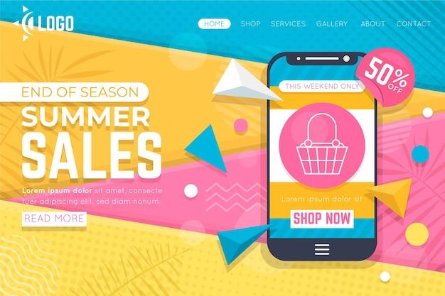 Einde van de zomer verkoop bestemmingspagina sjabloon met geïllustreerde smartphone