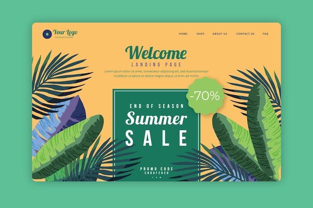 Einde van de zomerverkoop webpagina geïllustreerd