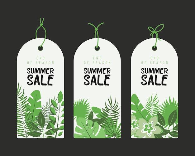 Einde van het seizoen. zomer handgetekende calligraphyc verkoop tags set. mooie zomerposters met palmbladeren, texturen en handgeschreven tekst. fashion tags.