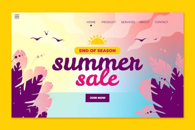 Einde van het seizoen zomer verkoop bestemmingspagina sjabloon
