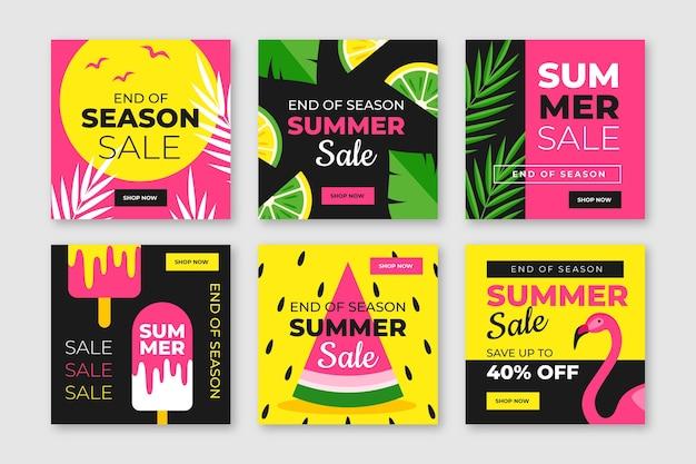 Einde van het seizoen zomer verkoop instagram post set