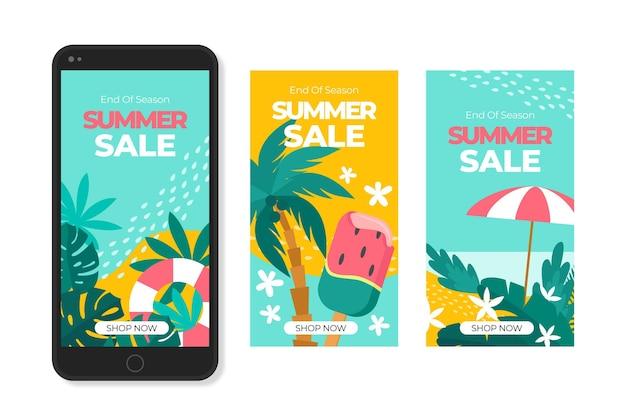 Einde van het seizoen zomer verkoop instagram verhalen collectie