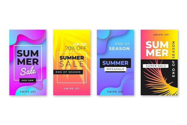 Einde van het seizoen zomer verkoop instagram verhalen ingesteld