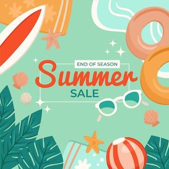 Einde van het seizoen zomer verkoop sjabloon