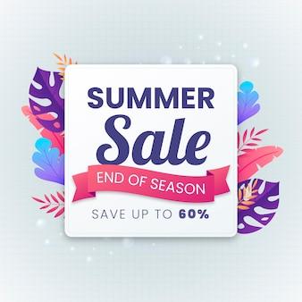 Einde van het seizoen zomer verkoop tropische bladeren