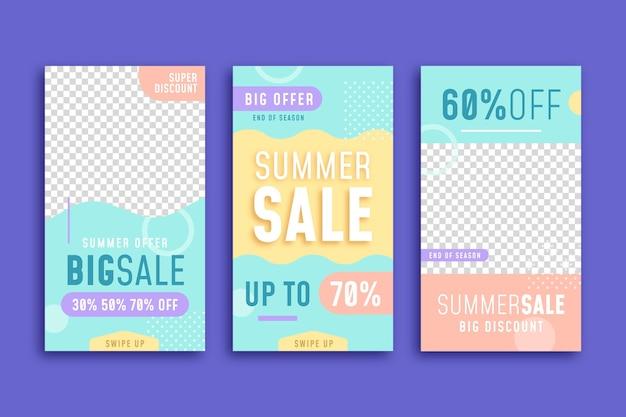 Einde van het seizoen zomerverkoop instagram verhalen sjabloonpakket
