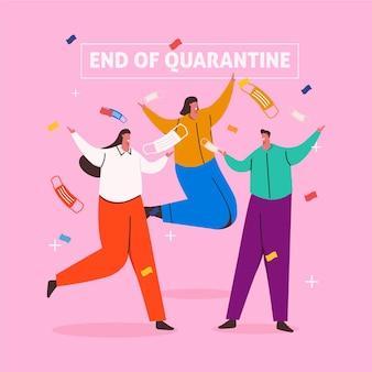 Einde van quarantaine-illustratie
