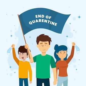 Einde van quarantaine met mensen die vlag houden
