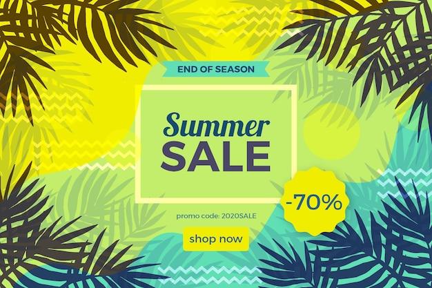 Einde van seizoen zomer verkoop illustratie met grote aanbieding