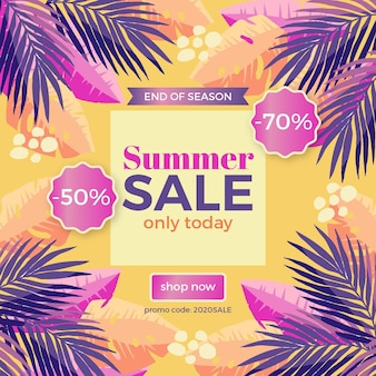 Einde van seizoen zomer verkoop illustratie met korting