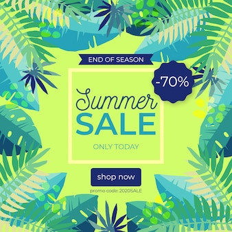 Einde van seizoen zomer verkoop illustratie met speciale korting