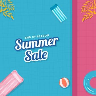 Einde van seizoen zomer verkoop posterontwerp met bovenaanzicht van zwembad.