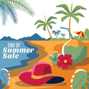 Einde van seizoen zomer verkoop vierkante banner