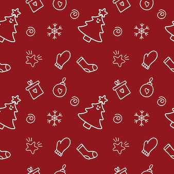 Eindeloos naadloos nieuwjaarspatroon op een rode achtergrond. een set van vector doodle-illustraties voor kledingontwerp, textiel, maatwerk, het maken van een omslag voor kladblok. kerst inpakpapier.
