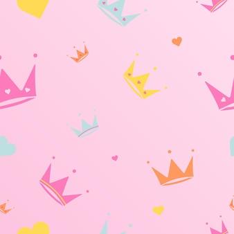 Eindeloze achtergrond met kronen diademen strepen leuke romantische roze vector achtergrond in lol pop verrassing stijl decor voor kinderen verjaardag meisjes partij cadeaupapier patroon vector