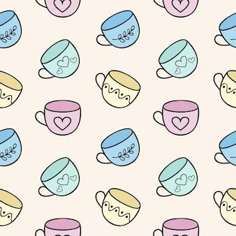 Eindeloze naadloze achtergrond met theemokken. sjabloon voor het menu van een eetkamer, café of restaurant. kinder cartoon afbeelding van doodles met kopjes. afdrukken op stof, kleding en papier.