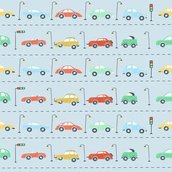 Eindeloze patroon ingesteld stadsauto's verkeerslichten weg eenvoudige hand tekenen stijl vectorillustratie