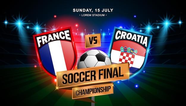 Eindkampioenschap voetbal tussen frankrijk en kroatië