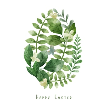 Eivorm samengesteld uit groene kruiden en bladeren. pasen decoratie. hand getekend aquarel illustratie.