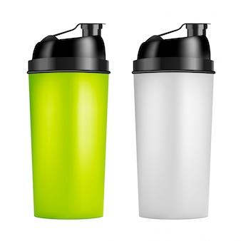 Eiwit shaker ontwerpsjabloon. twee kleuren sportflessen. shakerfles voor bodybuilding in de sportschool