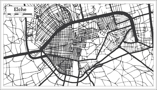 Elche spanje stadsplattegrond in retro stijl. overzicht kaart. vectorillustratie.
