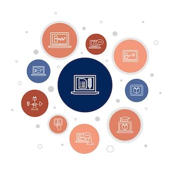 Elearning infographic 10 stappen bubbelontwerp. afstandsonderwijs, online training, videotraining, webinar eenvoudige pictogrammen
