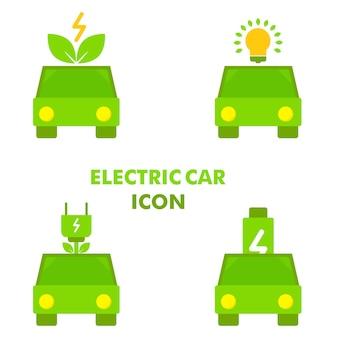 Electirc auto met energie macht pictogram elektrische auto pictogram ontwerp concept vector icon