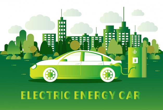 Electric energy car concept hybrid vechicle opladen op station over silhouet groene uitzicht op de stad