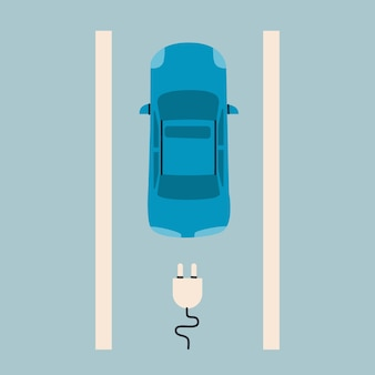 Electro auto bovenaanzicht oplaad smbool