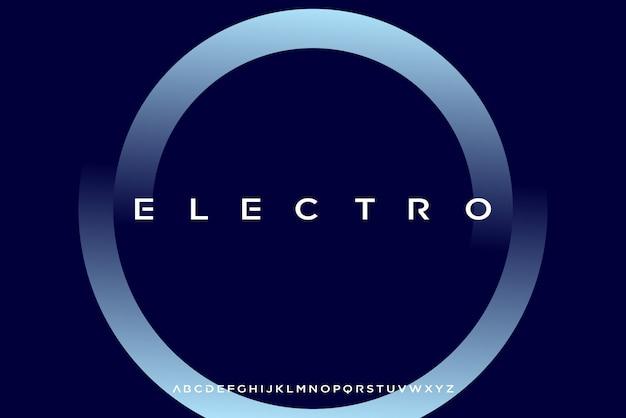 Electro, een abstract futuristisch alfabet lettertype met technologie thema. modern minimalistisch typografieontwerp