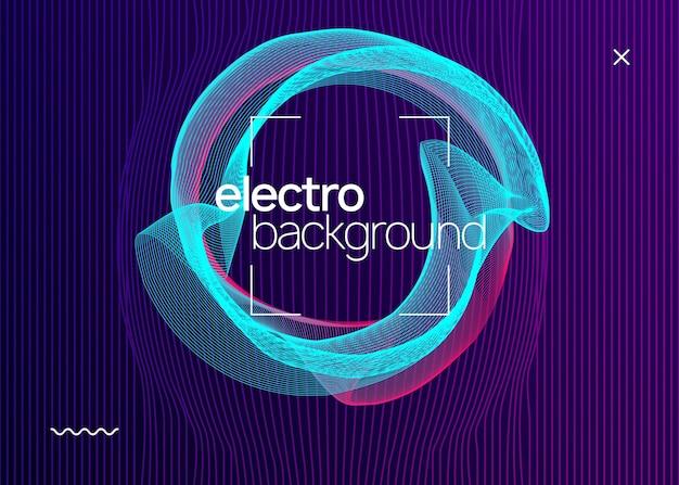 Electro evenement. futuristische lay-out van de concertuitnodiging. dynamische vloeiende vorm en lijn. electro evenement neon flyer. trance dansmuziek. elektronisch geluid