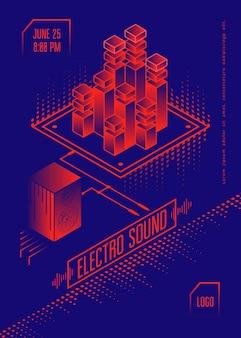 Electro geluid muziek poster.