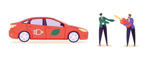 Electro green car customer buy auto.