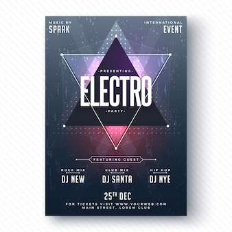 Electro party flyer of banner design.